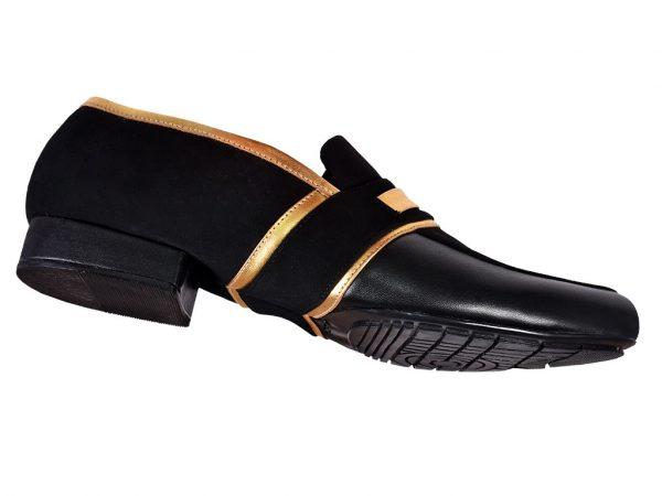 2 men black dance shoes